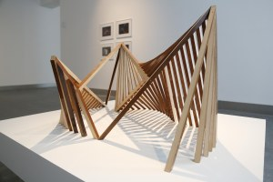 'Poème électronique, Revealed Structure, (After Iannis Xenakis, Le Corbusier & Edgard Varèse, 1958)' Raydale Dower (2014). Based on original architectural plans and engineering drawings, courtesy of Le Corbusier Foundation, Paris. Piano wood. Photo: Janet Wilson.