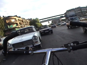 'Bicycling Damascus', Rainer Ganahl (2004) -90 mins video, video still