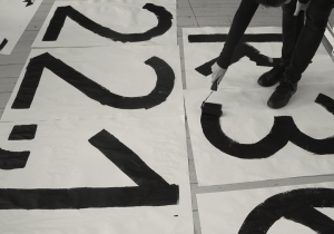 In progress, the making of the font for the Glasgow International visual identity. Photo: Kellenberger–White