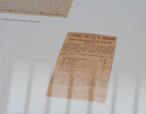 Facsimile of pages from George Orwell's 'The Road to Wigan Pier' (detail), 'Living Today' (2011), Mackintosh Museum, The Glasgow School of Art, Glasgow