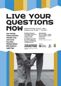 Invitation, 'Live Your Questions Now', GSA (2011) design: Sarah Tripp