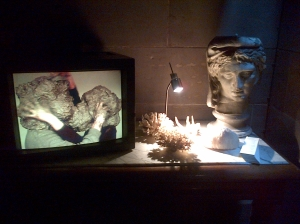 'The Kiss', (2004) William Cobbing, single channel video, 3:33 mins. Hospitalfield. Photo: Jenny Brownrigg