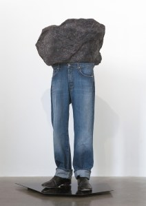 'Sound of Silver', Michael Stumpf (2010). Recyled fabric, acrylic resin, denim, tap-shoes, powder coated steel. Front view.