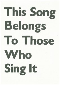 'This Song Belongs to Those Who Sing It', Michael Stumpf (2014). Leaflet, cover.