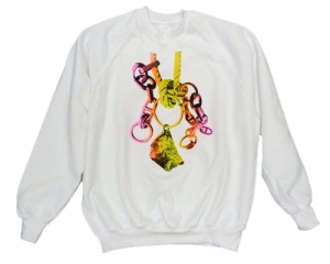 'SWEATS Lovesong; Song (ring, chain, rope, nail, rock)' (2012), Michael Stumpf. Ongoing series of screenprinted sweatshirts.