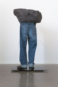 'Sound of Silver', Michael Stumpf (2010). Recyled fabric, acrylic resin, denim, tap-shoes, powder coated steel. Back view.