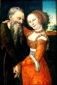 'The Unequal Couple', Lucas Cranach the Elder, (c. 1530). 86.7 x 58.5 cm. Germanisches Nationalmuseum, Nuremberg