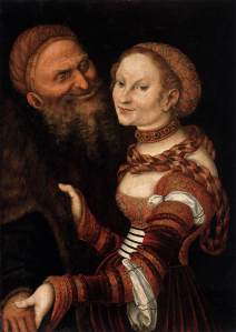 'Ill-matched Couple: Young Widow and Old Man', Lucas Cranach the Elder, (1525-30). Oil and tempera on wood, 79 x 58 cm. Musée des Beaux-Arts et d'Archéologie, Besançon http://www.wga.hu/html_m/c/cranach/lucas_e/14/index.html