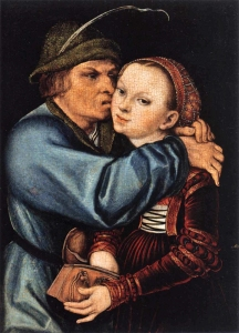 'Ill-matched Couple- Peasant and Prostitute', Lucas Cranach the Elder (1525-30) Oil and tempera on red beechwood, 32 x 23 cm. Hessisches Landesmuseum, Darmstadt