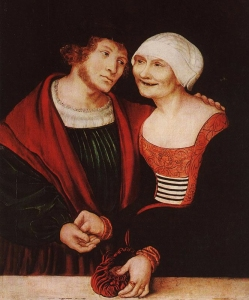 'Ill-matched Couple: Young Man and Old Woman' Lucas Cranach the Elder (1520-22) Oil and tempera on red beechwood, 37 x 31 cm. Szépmûvészeti Múzeum, Budapest