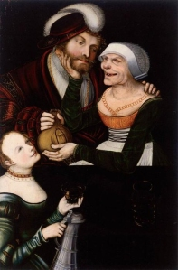 'Ill-matched Couple: Young Man and Old Woman with a Maid', Cranach Workshop, Lucas Cranach the Younger (c. 1540s) Oil and tempera on pine, 91 x 61cm. Kunstsammlungen der Veste Coburg, Coburg