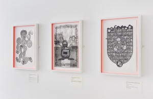 'Phew drawings on decisions: Radio Octopus', (2014); 'Phew drawings on decisions: The One', (2014); 'Phew drawings on decisions: Donkeyroo Caught', (2014); Oliver Braid. Photo: Alan Dimmick