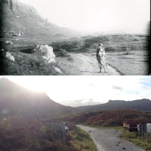 (t) Detail, 'figure, Miss D probably, on road in Eigg' Ref: 95820.182.185, Inverness Museum & Art Gallery (b) Photo: Jenny Brownrigg (2016)