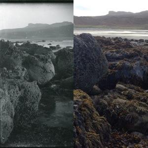 (l) Detail of 'Coast of Eigg, Sgurr in background', MEM Donaldson, Ref: 958.20.505, Inverness Museum & Art Gallery. (r) Photo: Jenny Brownrigg (2016)