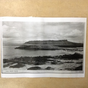'View of Eigg from Muck, Photo: Violet Banks', photocopy of postcard, Eigg History Society
