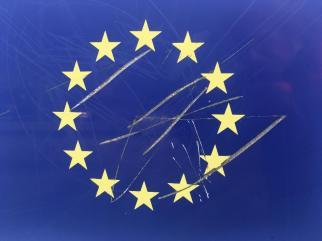 'EU Flag, Symbister Harbour', (2019), Jenny Brownrigg